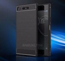 For Sony Xperia Models Carbon Fibre Gel Case Cover & Glass Screen Protector