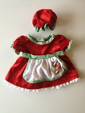 Build a Bear TEDDY BEAR CLOTHING - RED VELVET CHRISTMAS DRESS WITH APRON AND CAP