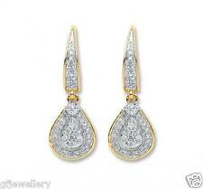 9CT HALLMARKED YELLOW GOLD 0.25 CTS G/H SI DIAMOND TEARDROP EARRINGS