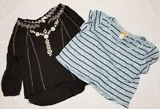 Lot Of 2 MUDD Juniors Women Large Long Short Sleeve Shirts Black Blue Striped