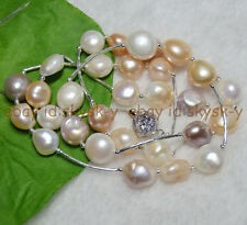 """30"""" HUGE 12-15mm BAROQUE COLOURFUL FRESHWATER CULTURED REAL PEARL NECKLACES AAA"""