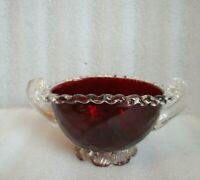 💕 Murano ART GLASS CANDY BOWL🍭 Reeded HANDLES Gold Foil Inclusion OX BLOOD Red
