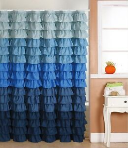 Waterfall Ruffle Fabric Shower Curtain MULTI - COLOR BLUE
