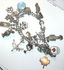 Maple Leaf, Horses, Old Car, Jet + Vintage Charm Bracelet with 20 Charms Ec