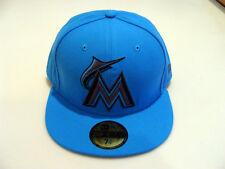 New Era Cap Hat 59FIFTY Fitted MLB Baseball Miami Marlins 7 1/2 Blue Custom New