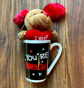 VALENTINE Dan Dee Dog w/ Heart Plush+Mug PUPPY LATTE You're Pawsome - I Woof You