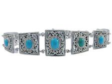 """925 sterling sleeping beauty turquoise gemstone bracelets 8""""women jewelry"""