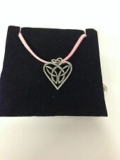 Celtic INTERLACED HEART CHPP  Pewter PENDENT ON A PINK CORD Necklace Handmade