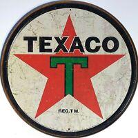 PLAQUE METAL publicitaire USA vintage huile  TEXACO - ronde 30 cm