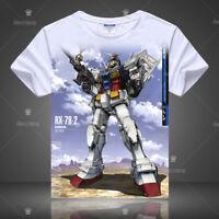 Anime Gundam RX-78-2 T-shirt Short Sleeve Unisex White TEE Cosplay S-3XL#AL074