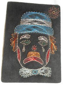 "Super CooL VinTaGe SAD CLOWN Pin & Wire on Black Felt ART 12"" Wall Hanging Decor"