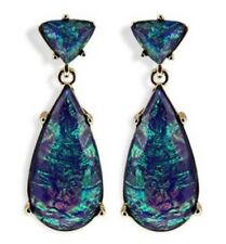 IRIDESCENT BLUE GREEN TEAR DROP CRYSTAL RHINESTONE Faux Abalone Drop Earrings