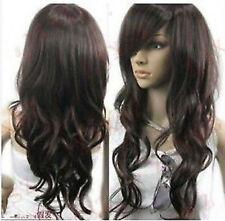 LMSW0288 new long dark brown  natural hair wigs wavy curly modern women hair wig