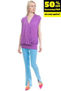 RRP €160 JUCCA Longline Top Size 42 / S Crossover Front V Neck Made in Italy