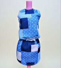 Barbie Fashionistas Blue Patchwork Dress Shoes and Watch Outfit  #60