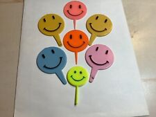 Vintage Cupcake Toppers Lot Of 7 Smiley Faces