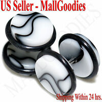 "2018 White Marble Fake Cheater Illusion Faux Ear Plugs 16G Bar 1/2"" = 12mm 2pcs"