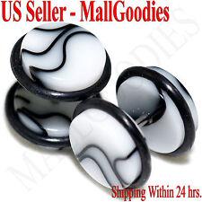 "2017 White Marble Fake Cheater Illusion Faux Ear Plugs 16G Bar 7/16"" = 11mm 2pcs"