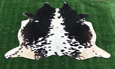 Medium Cowhide Rug Black Real Hair on Cow Hide Skin Print Area Rugs 5.25x 5 ft