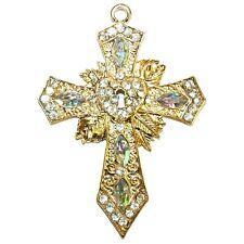 P2670L2 Rhinestone Crystal Gold Metal 110mm Cross with Key Hole Ornament Pendant