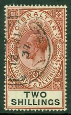 SG 103 Gibraltar 2/- Red brown & Black, Very fine used