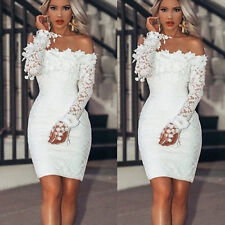 Womens Off Shoulder Floral Lace Bridesmaid Long Sleeve Party Evening Mini Dress