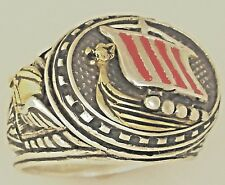 Artisan made 10 Karat Gold Viking Longship Mens sterling silver ring