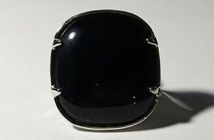 Mia Cocktail Fashion Ring Large Black Stone & Silver Colored Ring Size 6,7,8 NEW