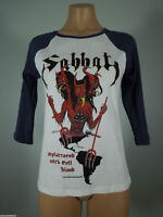 SABBAT Splattered Evil White GIRLIE Raglan Tee Blue Sleeves M R.I.P. Records NEW