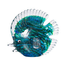 Crystal Stripe Tropical Fish Sculpture Art Glass Hand Blown Figurine Table Decor