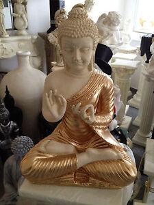 Buddha Groß FENG SHUI STATUE  Budda  H45 cm  Beige Gold Garten Deko TOP