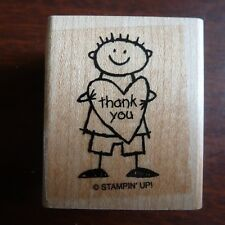 Stampin Up Thank You  Rubber Stamp Boy Stick Figure Heart