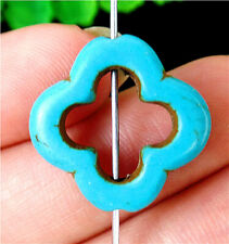 20x20x4mm Blue Turquoise Flower Height Hole Pendant Bead BV55251
