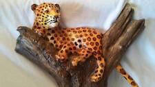 Cheetah Cat Leopard In Tree Unique Mid Century Original Wall Sculpture Carving