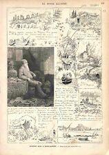 Jean Baptiste Alphonse Karr Romancier à Saint-Raphaêl Dessin Scott GRAVURE 1878