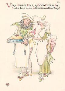 SWEET PEA & CHERRY: 1905 Print of a Floral Art Nouveau Watercolour, WALTER CRANE