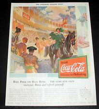 1931 OLD MAGAZINE PRINT AD, DRINK COCA-COLA, BALL PARK OR BULL RING, COLD COKE!