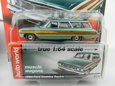 2017 AUTO WORLD 1:64 *PREMIUM 1A* TEAL 1964 Ford Country Squire Station Wagon