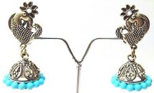 Peacock Silver Oxidized Earring Jhumka Bollywood Ethnic Jewelry Drop Dangle 4L11