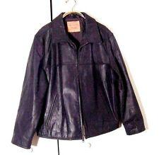 Vtg Black Leather Levi Strauss Motorcycle Bomber Jacket Sz 2XL