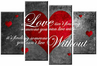 LOVE ISN'T FINDING CANVAS RED GREY WHITE QUOTE PICTURE 4 PANEL WALL ART 100cm