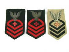 Lot of 3-WW2 - Korean War Era US Navy Rank Rate Patch - USMC Navy Corpsman - CPO
