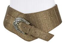Women Wide Fashion Western Belt Bronze Brown Color Faux Leather Hip Waist M L