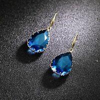 Boucles d'oreilles Doré Crochet Goutte Verre Facetté Bleu Paon Mariage DD13
