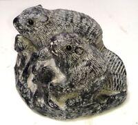 Vintage Orig. A Wolf Canada Inuit Eskimo Hand Made Soapstone Beavers Sculpture
