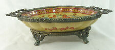 Vintage Chinese Porcelain and Brass Footed Soap Dish