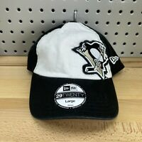 Pittsburgh Penguins NHL New Era 29TWENTY Size LARGE Flex Fit Hat White & Black