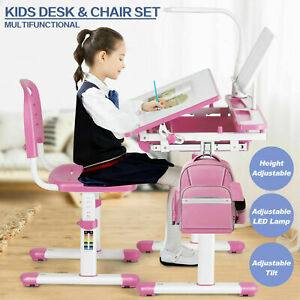 Girl Pink Height Adjustable Kids Study Desk Chair Set Children Table Lamp Drawer