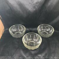 Vintage Set of 3 Clear HAZEL ATLAS Dessert Berry Bowls