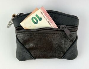 Key Bag Lightweight Bent Leather Wallet With Stitched Corners